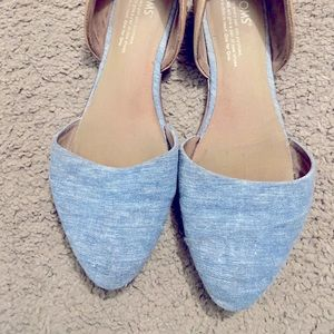 Toms, size 8, colour Jean and nude